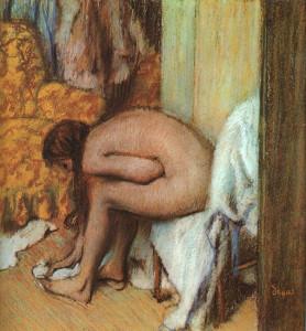 Degas Edgar, Dopo il bagno: donna che si asciuga i piedi (1886).
