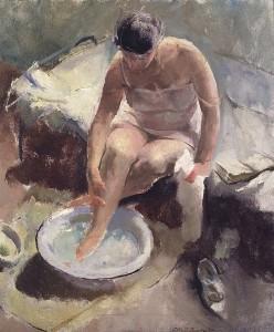 donna pediluvio nell'arte