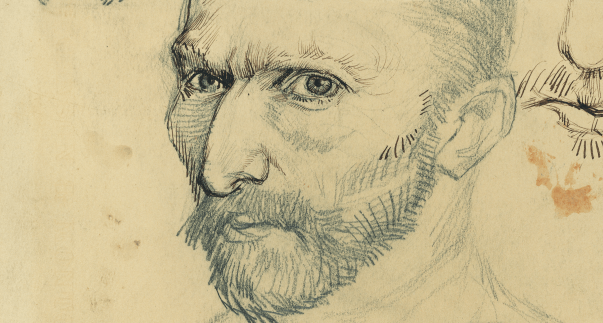 Detail of Vincent van Gogh, Self-portraits, Paris, January–June 1887, Pencil and Quill, 31,1 x 24,4 cm, Van Gogh Museum Amsterdam (Vincent van Gogh Foundation).