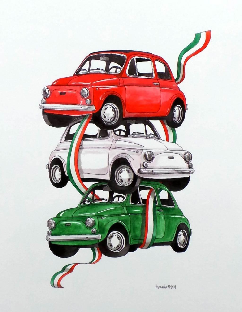 Fiat 500 Acquerello by Alessandro Tizzi x Moda a Colazione