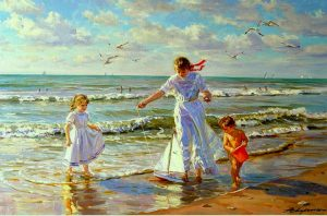 Alexander Averin - Woman & Childen at Shore with Toy Boat