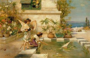 Children Playing with Boats painting - William Stephen Coleman (1900)