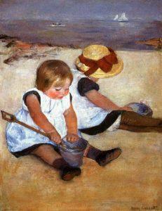 """Mary Cassat- """"Bambine che giocano sulla spiaggia"""", 1884"""