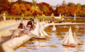 Paul Michel Dupuy - Children Sailing Their Boats In The Luxembourg Gardens Paris