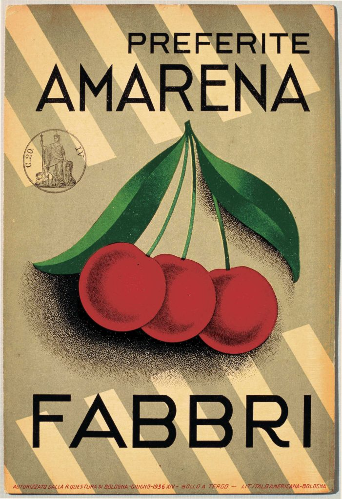 Locandina pubblicitaria dell'Amarena Fabbri - 1956